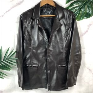 EMPORIO ARMANI Vintage Brown Fitted Leather Jacket